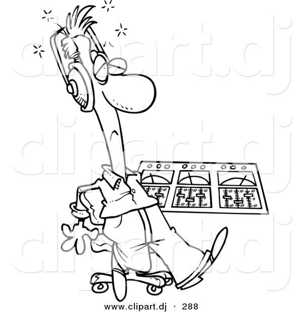 600x620 Cartoon Vector Clipart Of A Coloring Page Outline Sick Musician