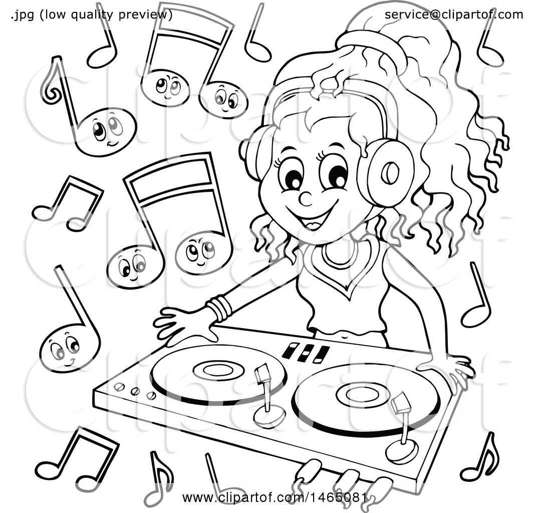 1080x1024 Clipart Of A Black White Female Dj Wearing Headphones
