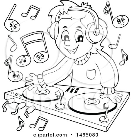 450x470 Clipart Of A Black And White Male Dj Wearing Headphones And Mixing