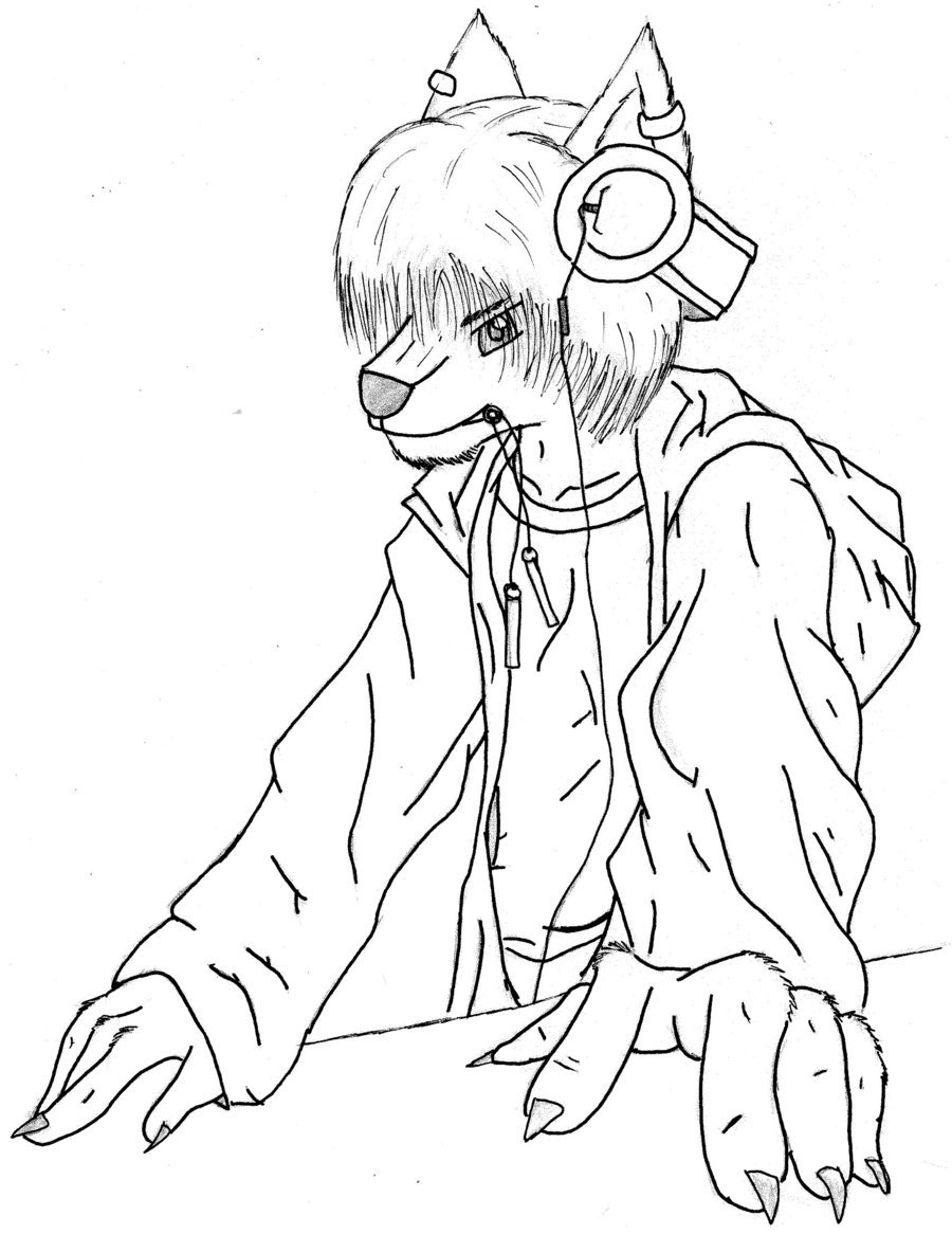900x1166 Furry Dj Version 2 Inked By Foxraver