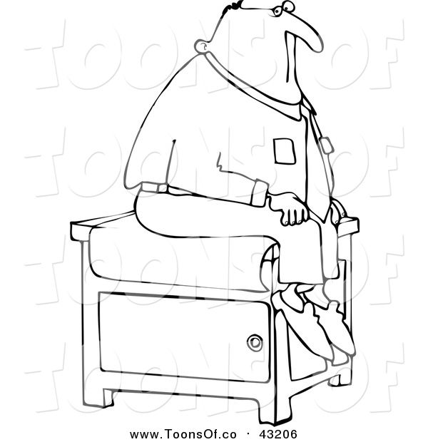 600x620 Vector Cartoon Of A Lineart Male Patient Sitting On An Exam Table