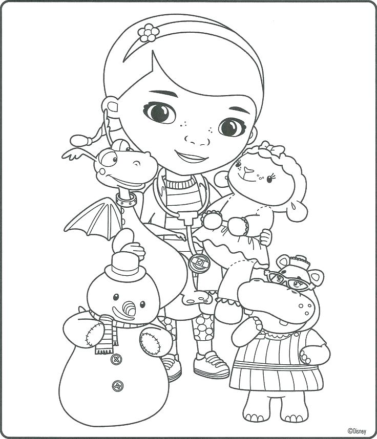 736x858 Doc Mcstuffin Coloring Book Together With Doc Coloring Book Also