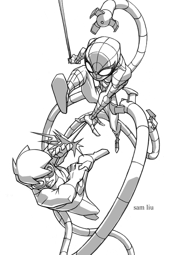 550x821 Spidey And Doc Ock By Samliu