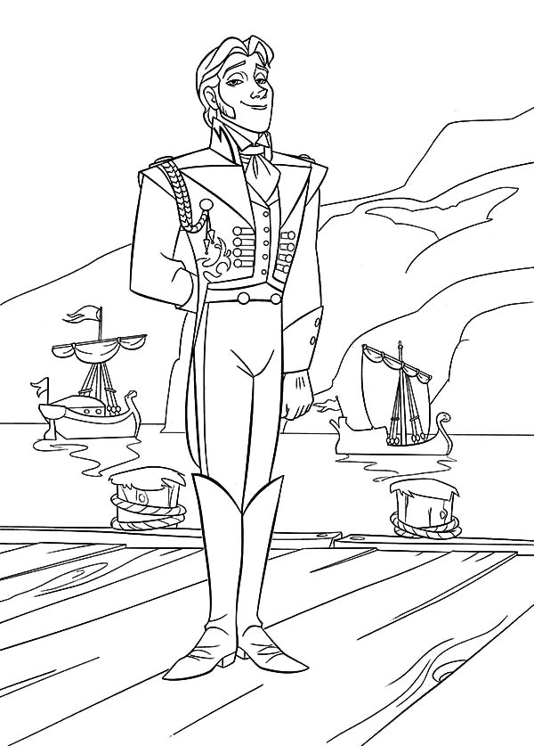 600x837 Prince Hans Standing On Dock Coloring Pages Prince Hans Standing