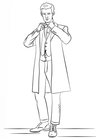 333x480 The Eleventh Doctor From Doctor Who Coloring Page Free Printable