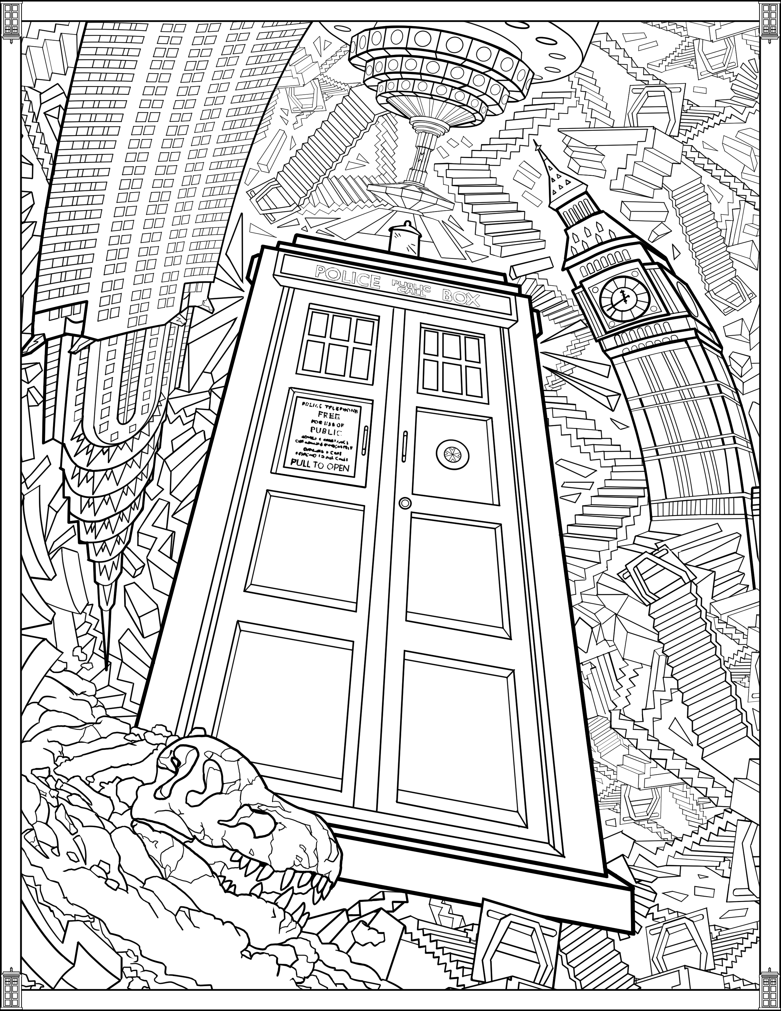 2550x3300 Doctor Who Wibbly Wobbly Timey Wimey Coloring Pages [Printables