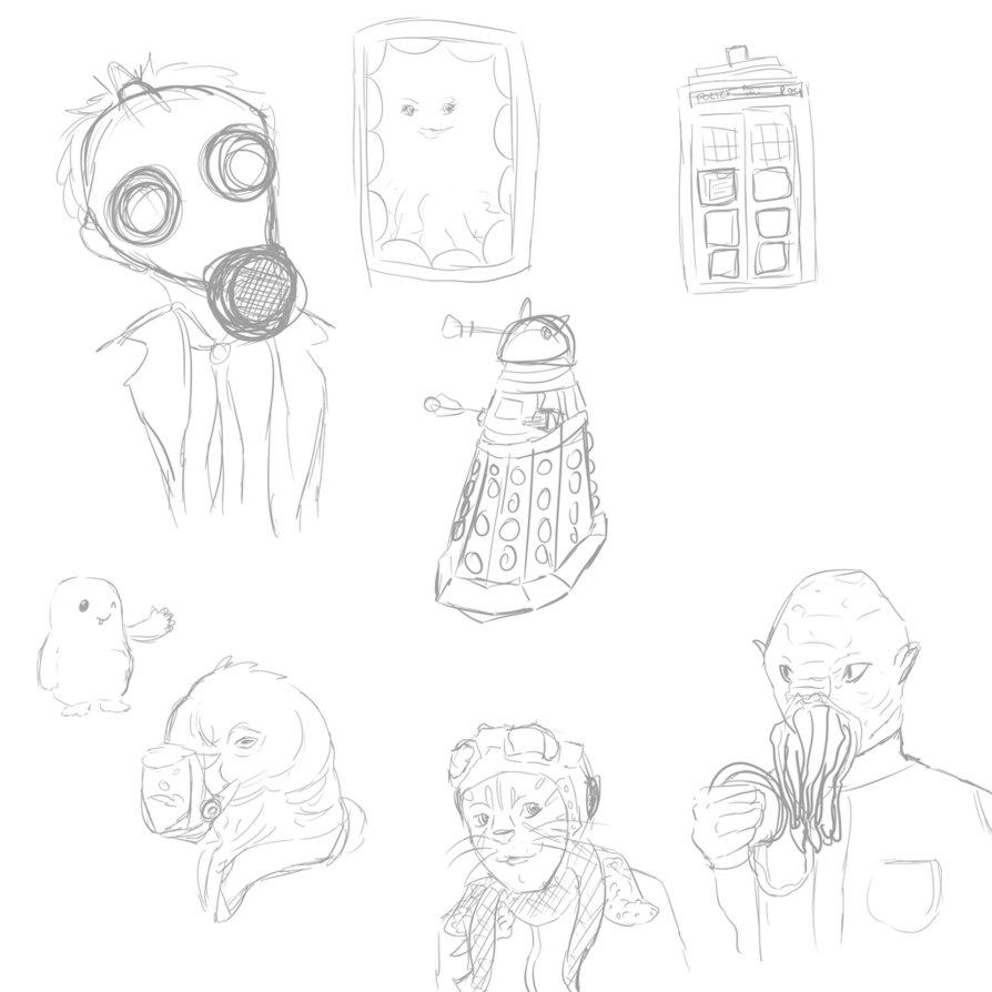 894x894 Doctor Who Sketches By Stacheldrahtzaun