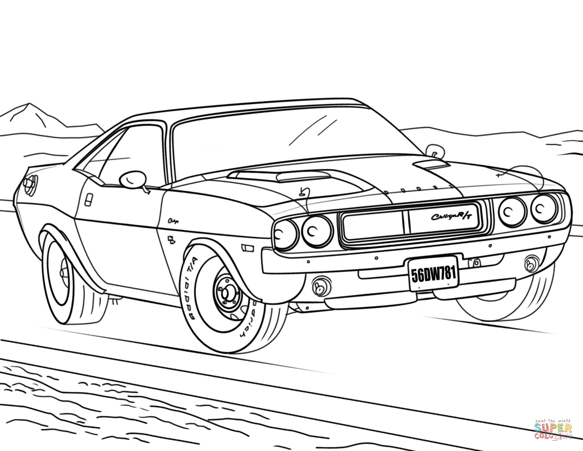 1186x916 1970 Dodge Challenger Coloring Page Free Printable Coloring Pages