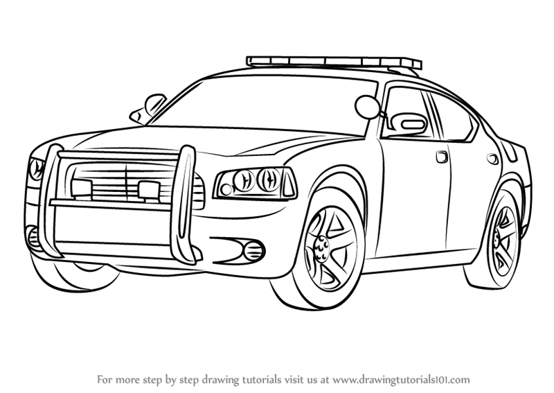 800x567 Learn How To Draw A Dodge Police Car (Police) Step By Step