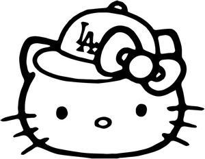 300x232 Hello Kitty Baseball Hello Kitty La Dodgers Baseball Cap Decal