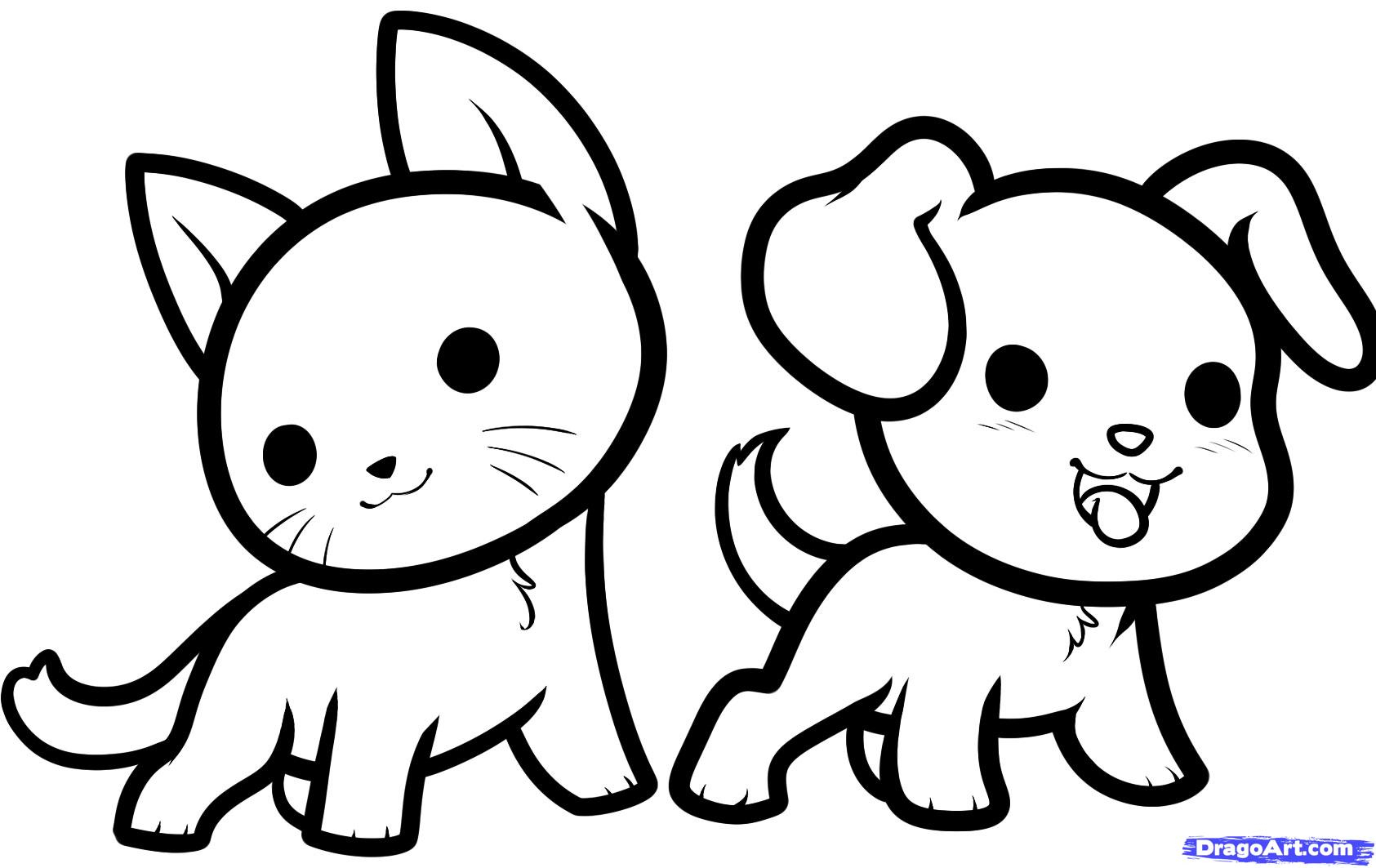 1685x1063 Dog And Cat Drawing Drawing Of Cat And Dog How To Draw Kawaii