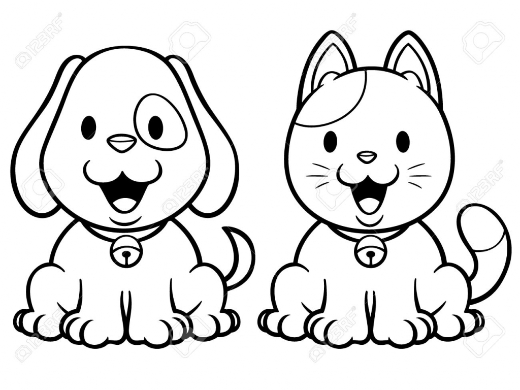 1024x768 Drawing Of Cat And Dog Cartoon Drawings Of Dogs And Cats Vector