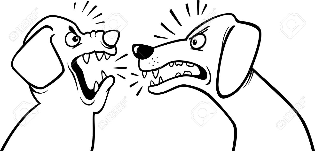 1300x626 Black White Cartoon Illustration Of Two Angry Barking