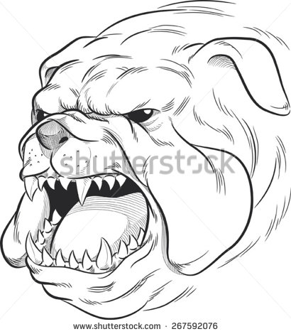 410x470 Sketch Of Angry Bulldog Barking Hodag Research