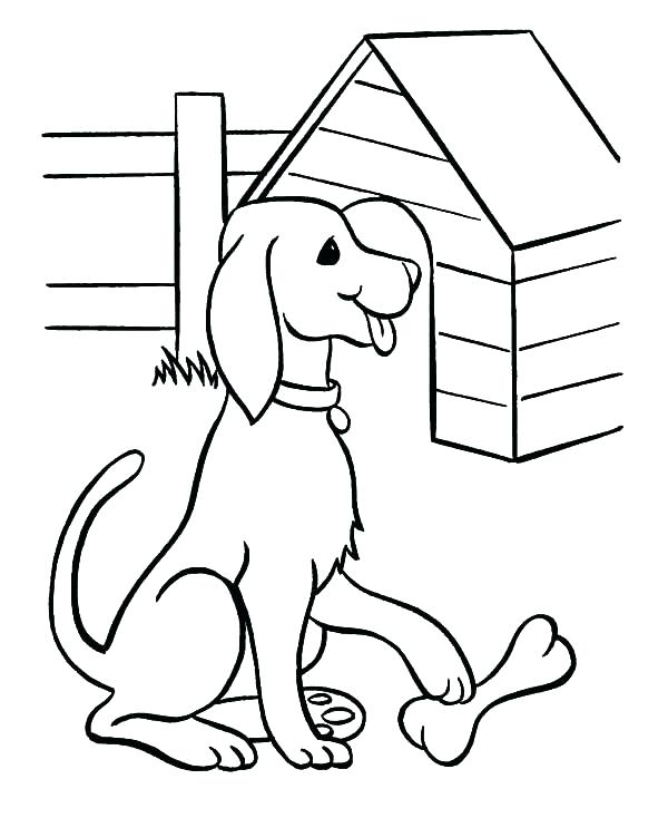 600x734 Dog House Coloring Page Dog Bone Printable Dog Found Bone In Front