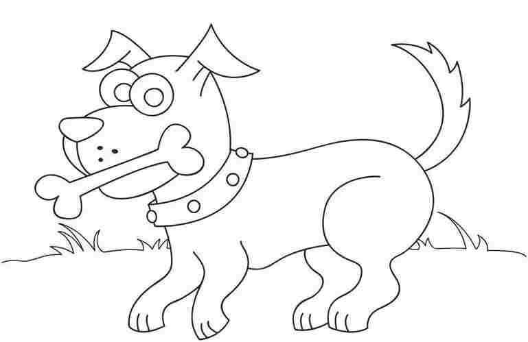 769x499 Puppy Dog Eat Bone Coloring Page Printable Online Bebo Pandco