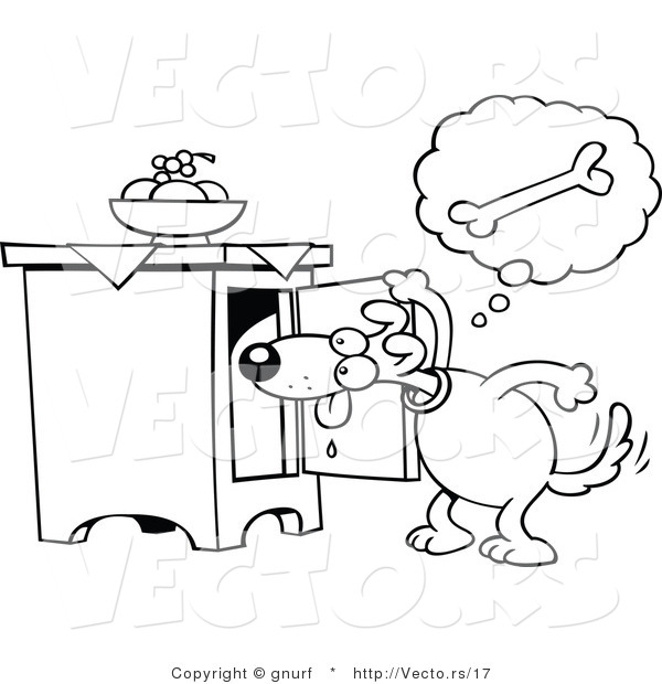 600x620 Vector Line Drawing Of A Hungry Cartoon Dog Searching For A Doggy