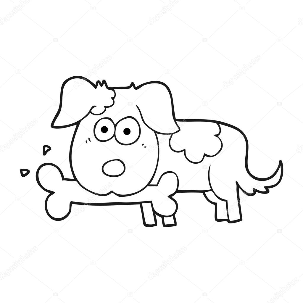 1024x1024 Black And White Cartoon Dog With Bone Stock Vector
