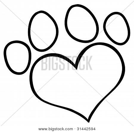450x444 My Dog Pawprint And Bone Drawing Stencil Image