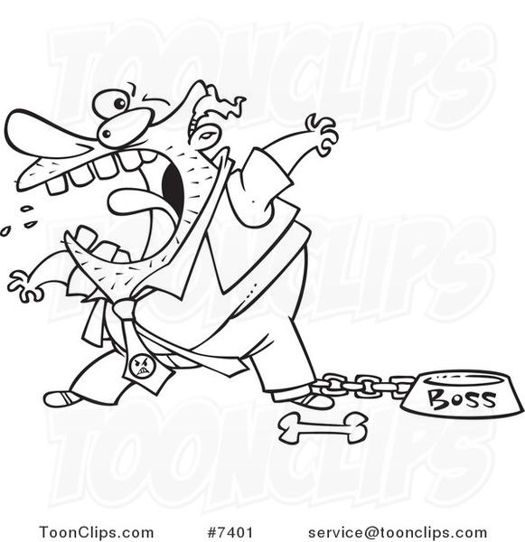 581x600 Cartoon Blacknd White Line Drawing Of Fierce Boss Tied Up By