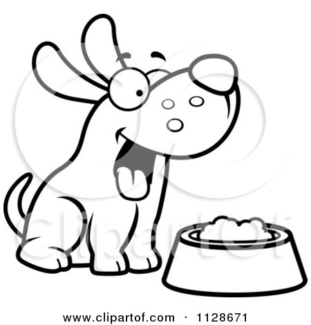 450x470 Cartoon Clipart Of An Outlined Happy Dog With A Bowl Of Food