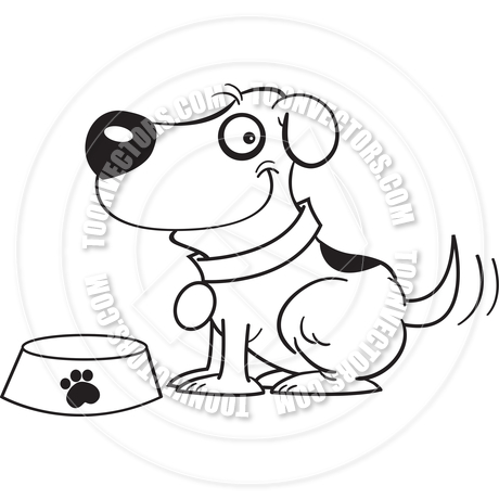 460x460 Cartoon Dog With A Dog Bowl (Black And White Line Art) By