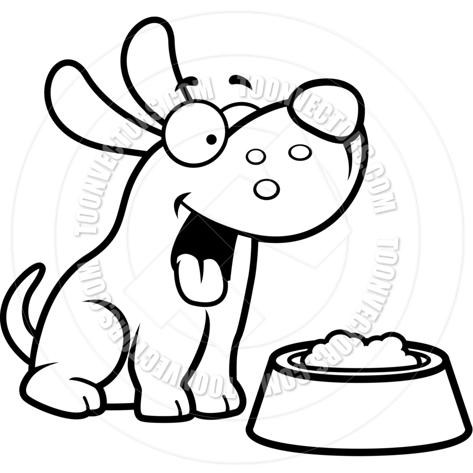 940x940 Cartoon Puppy Dog Food Bowl (Black And White Line Art) By Cory