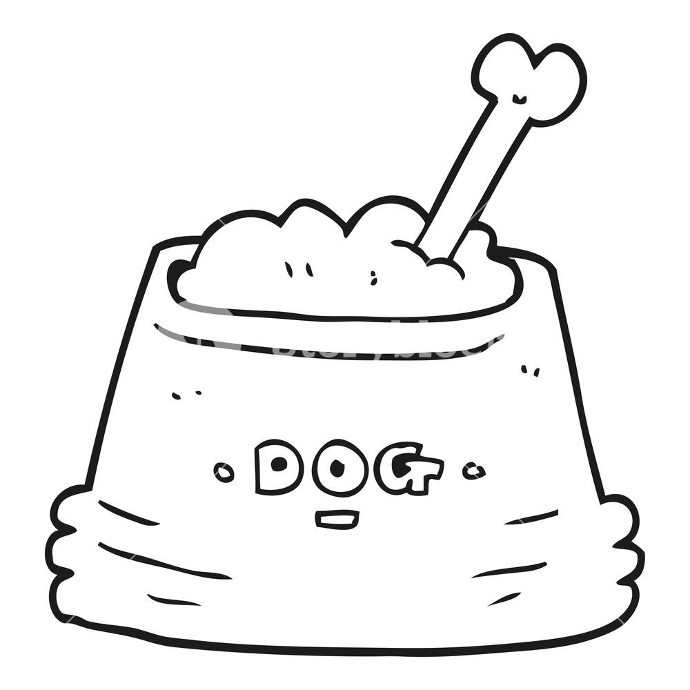 1000x1000 Freehand Drawn Black And White Cartoon Dog Food Bowl Royalty Free