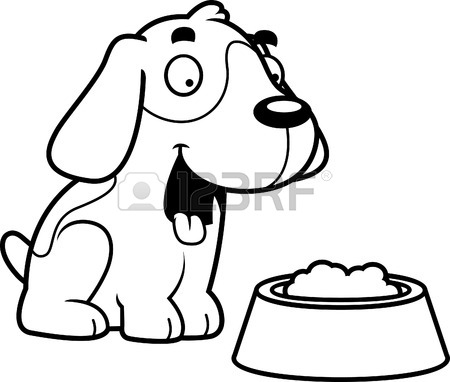 450x382 A Cartoon Illustration Of A Dog With A Bowl Of Food. Royalty Free