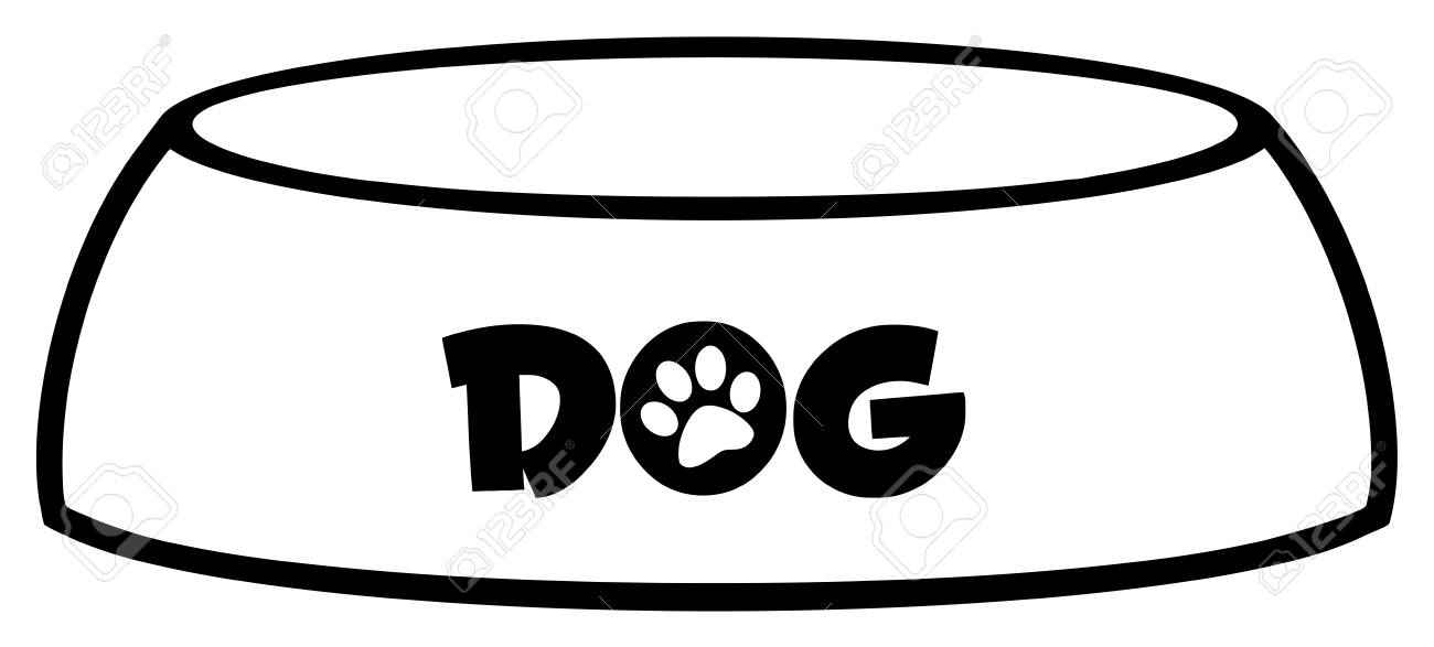 1300x587 Black And White Dog Bowl Drawing Simple Design. Illustration
