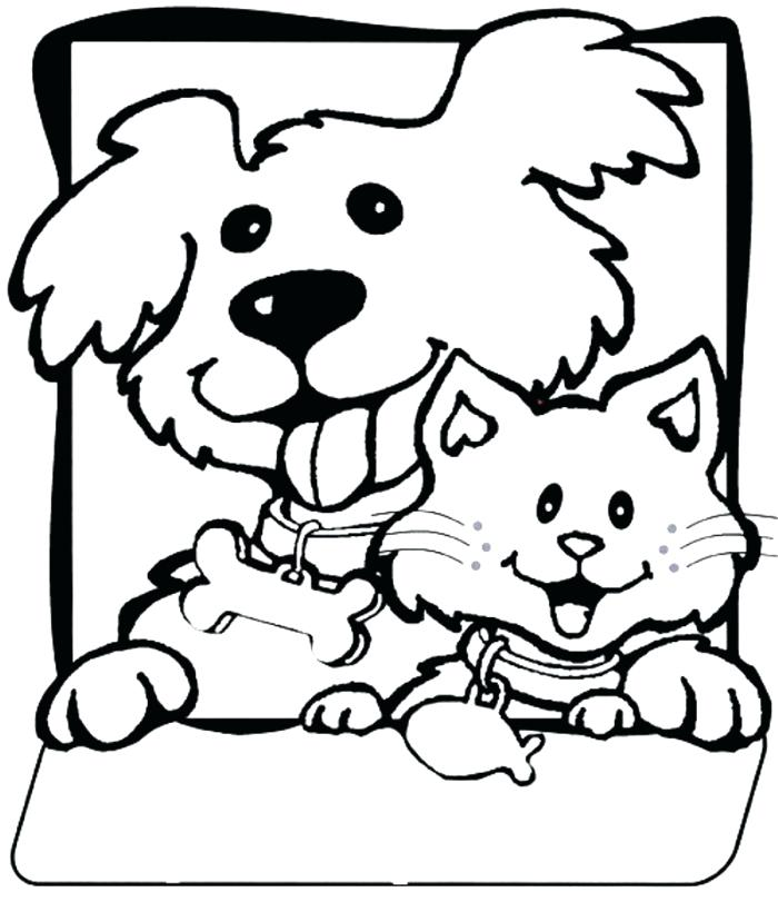 700x811 Coloring Cats And Dogs Dog Cat Pages Together With