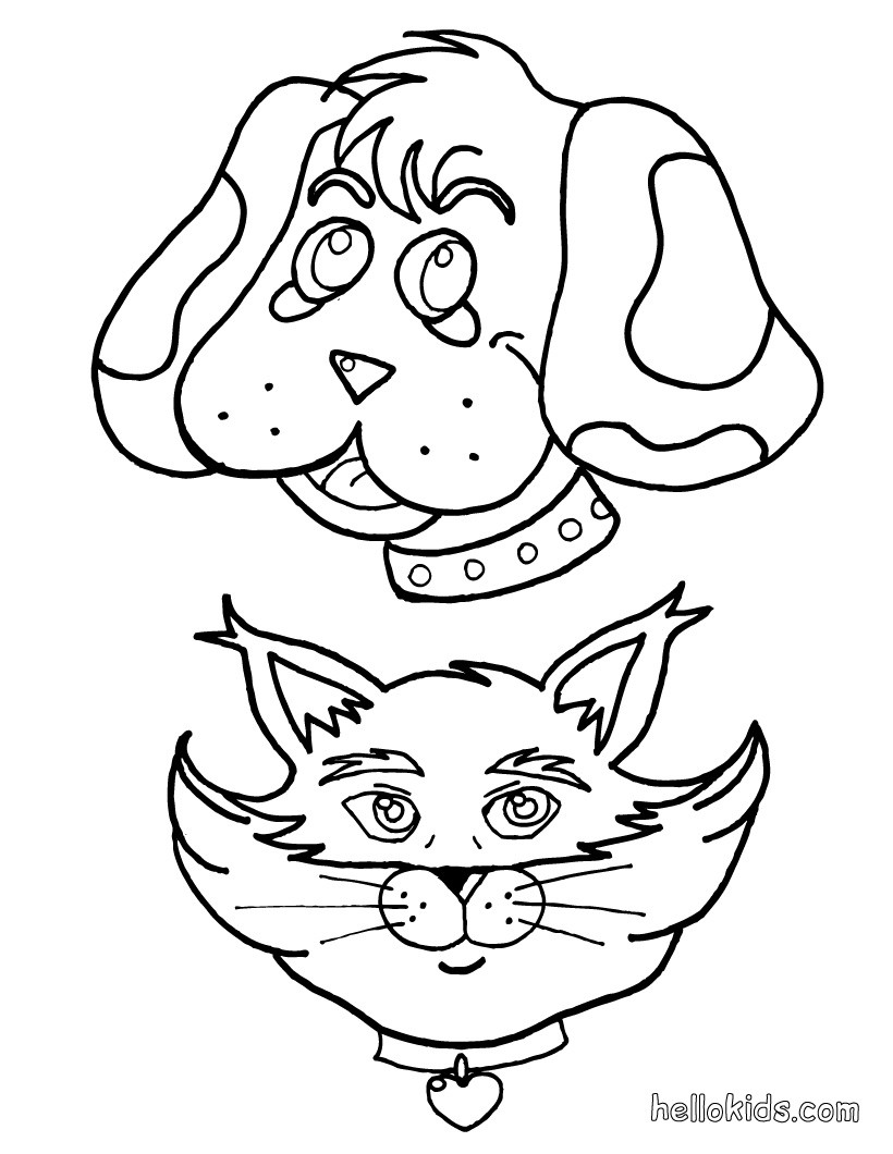 820x1060 Dog And Cat Coloring Pages