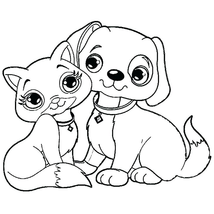 728x728 Dogs And Cats Coloring Pages Dog Cat Printable