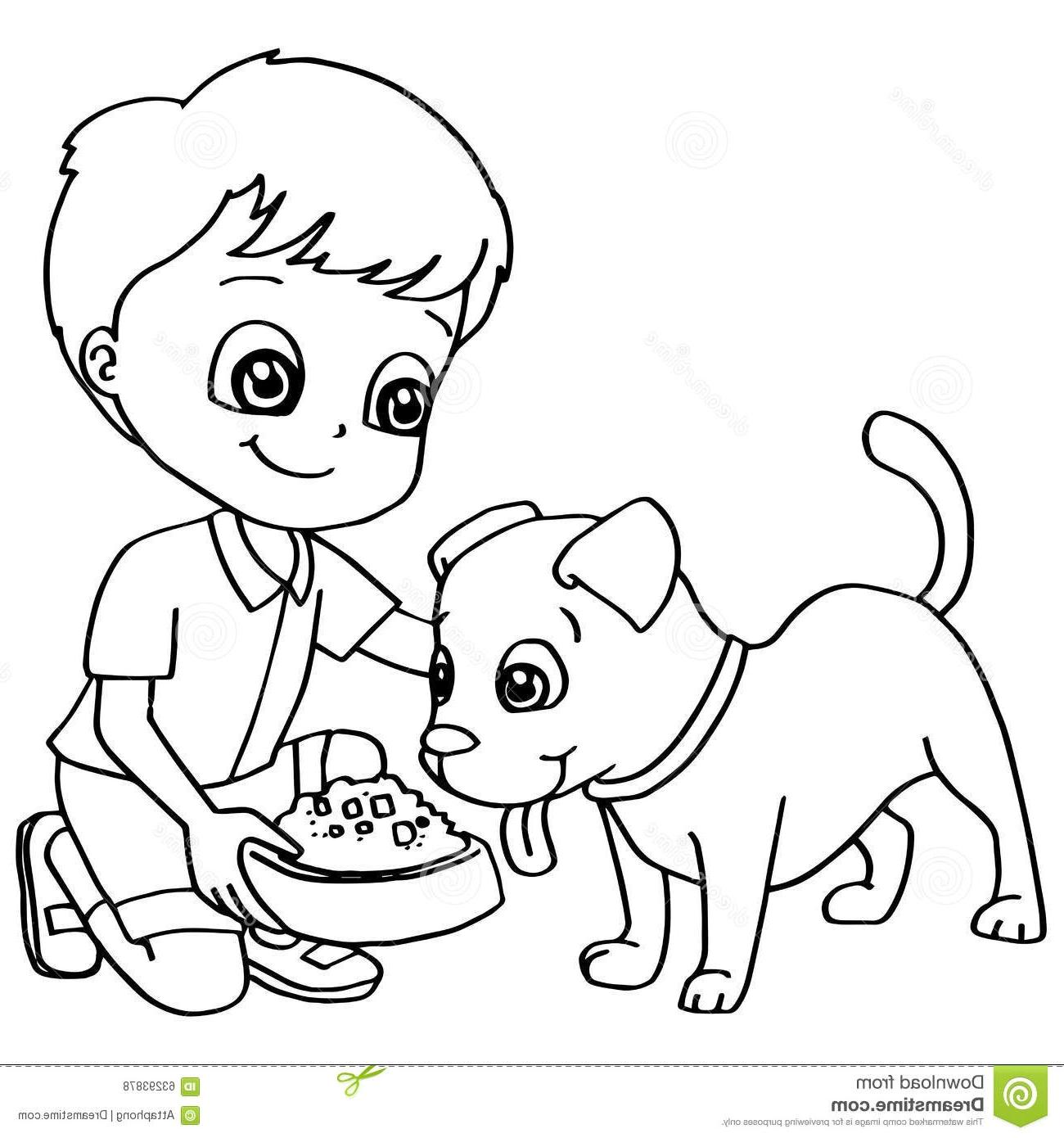 1300x1390 Hd Book Child Feeding Dog Clipart Black And Images