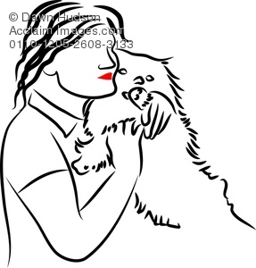 287x300 Illustration Of Simple Line Drawing Of Woman Cuddling Her Pet,