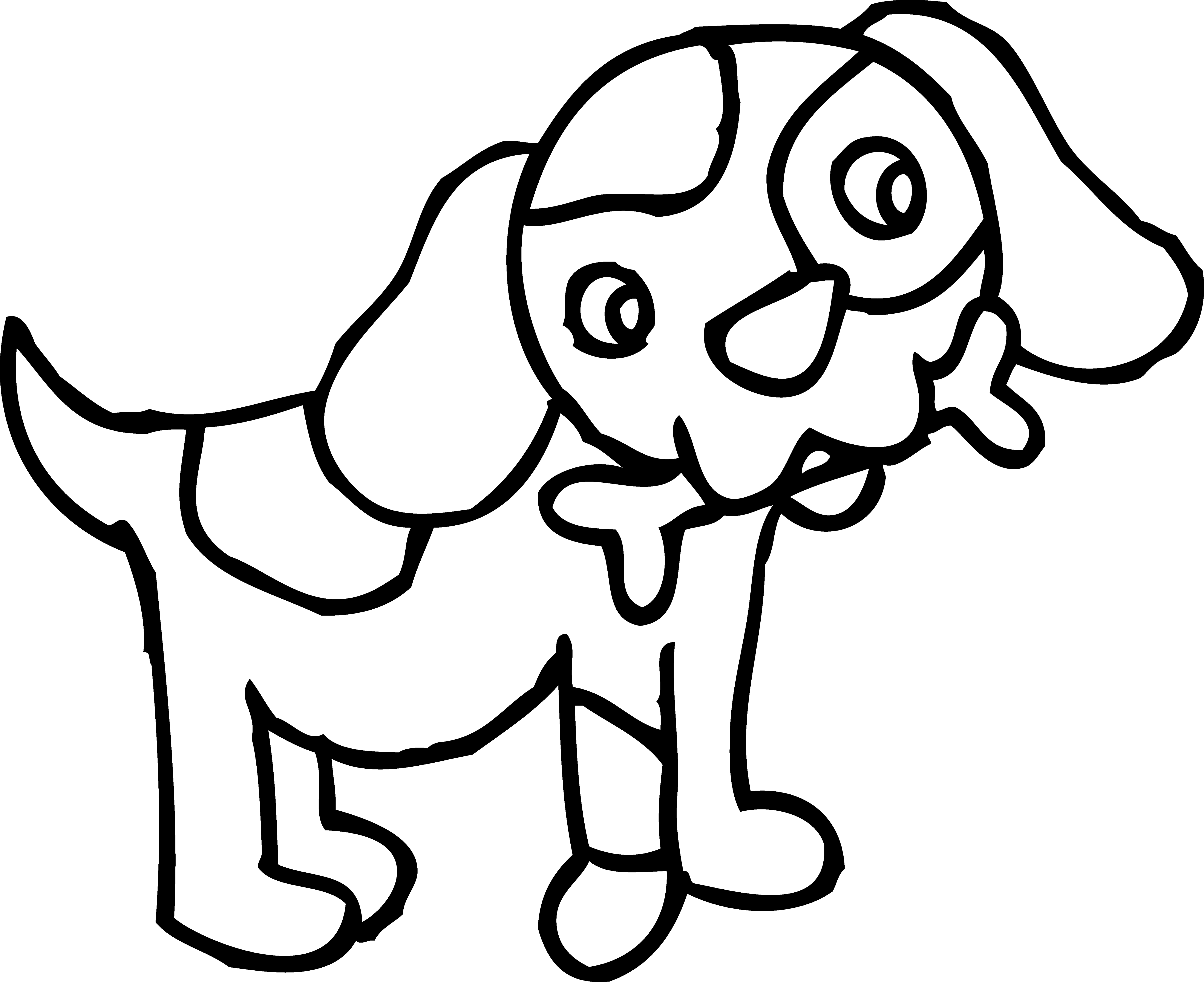 5602x4570 Black And White Dog Clipart