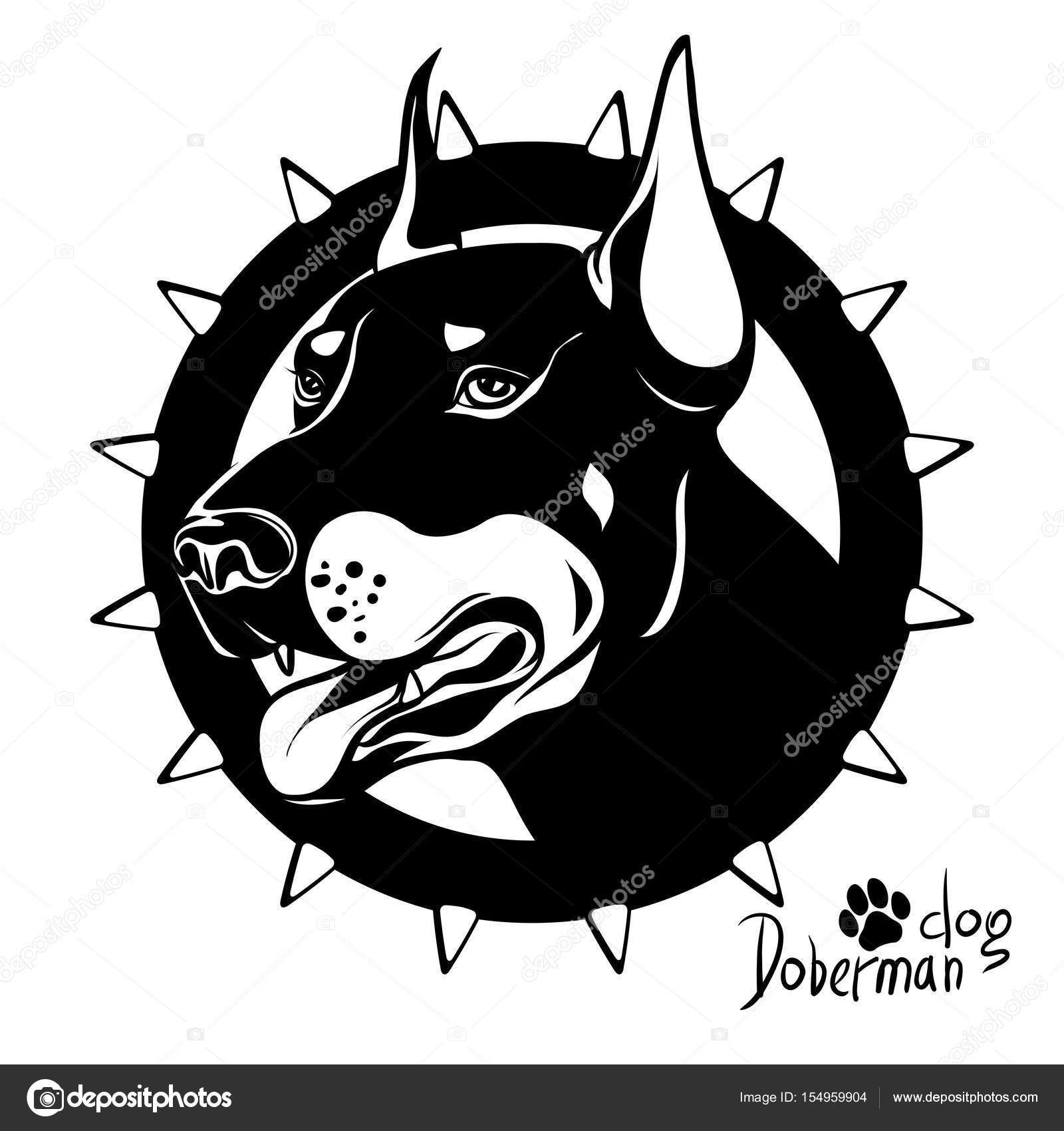 1600x1700 Graphic Vector Drawing Of A Dog Head, Service Breed Doberman