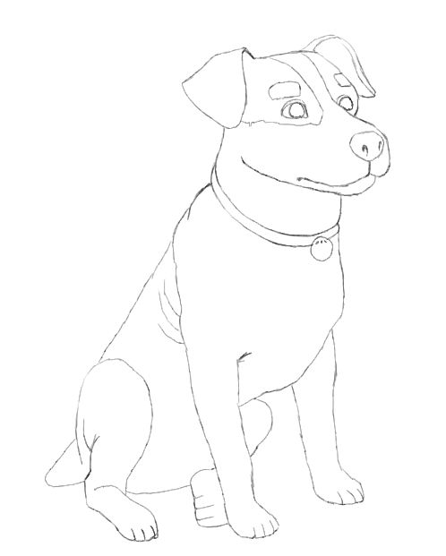 498x621 Dog Drawing ~ 3D Drawing