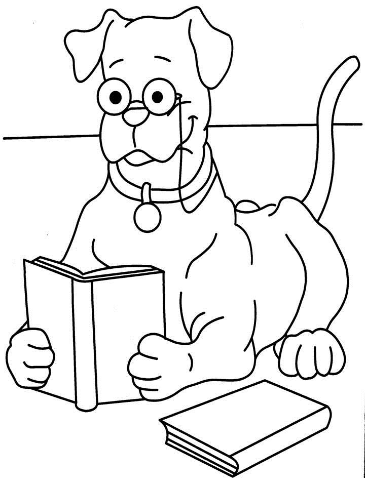 720x960 Dog Reading Book Coloring Printable Page