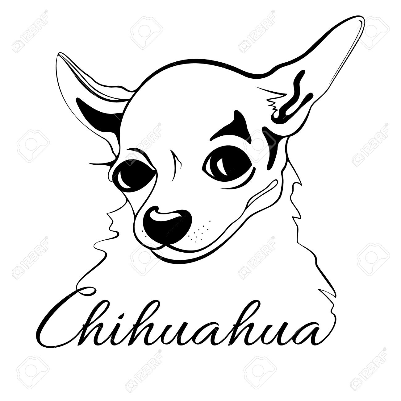 1299x1300 Outline Drawing Of The Dog's Head And The Words Chihuahua Royalty
