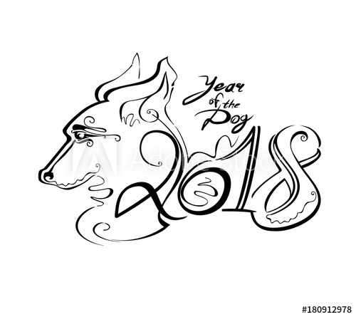500x445 Handwriting Template With The 2018 And Dog Head. Line Art Curl