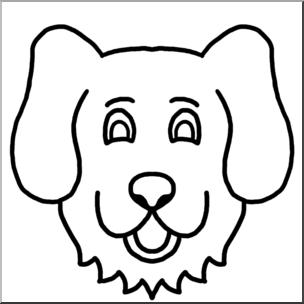 304x304 Clip Art Cartoon Animal Faces Dog Bampw I Abcteach