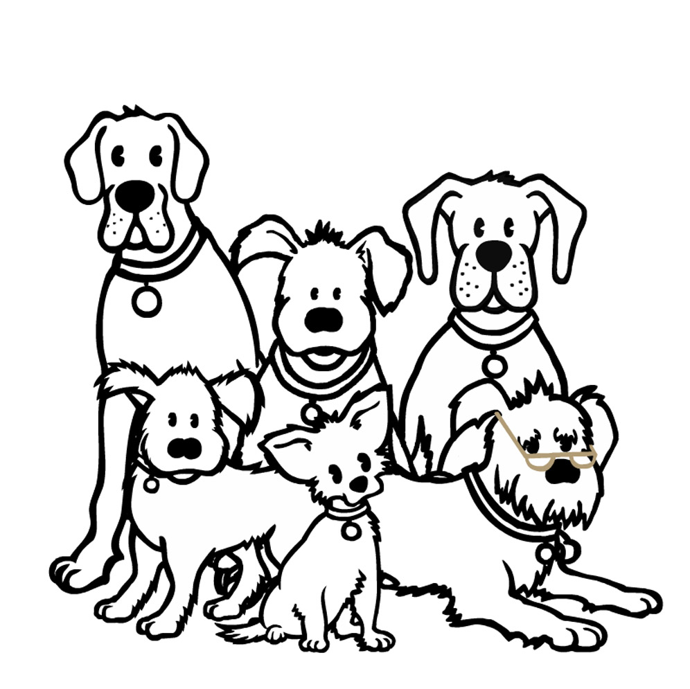 It is a graphic of Universal Dog Barking Drawing
