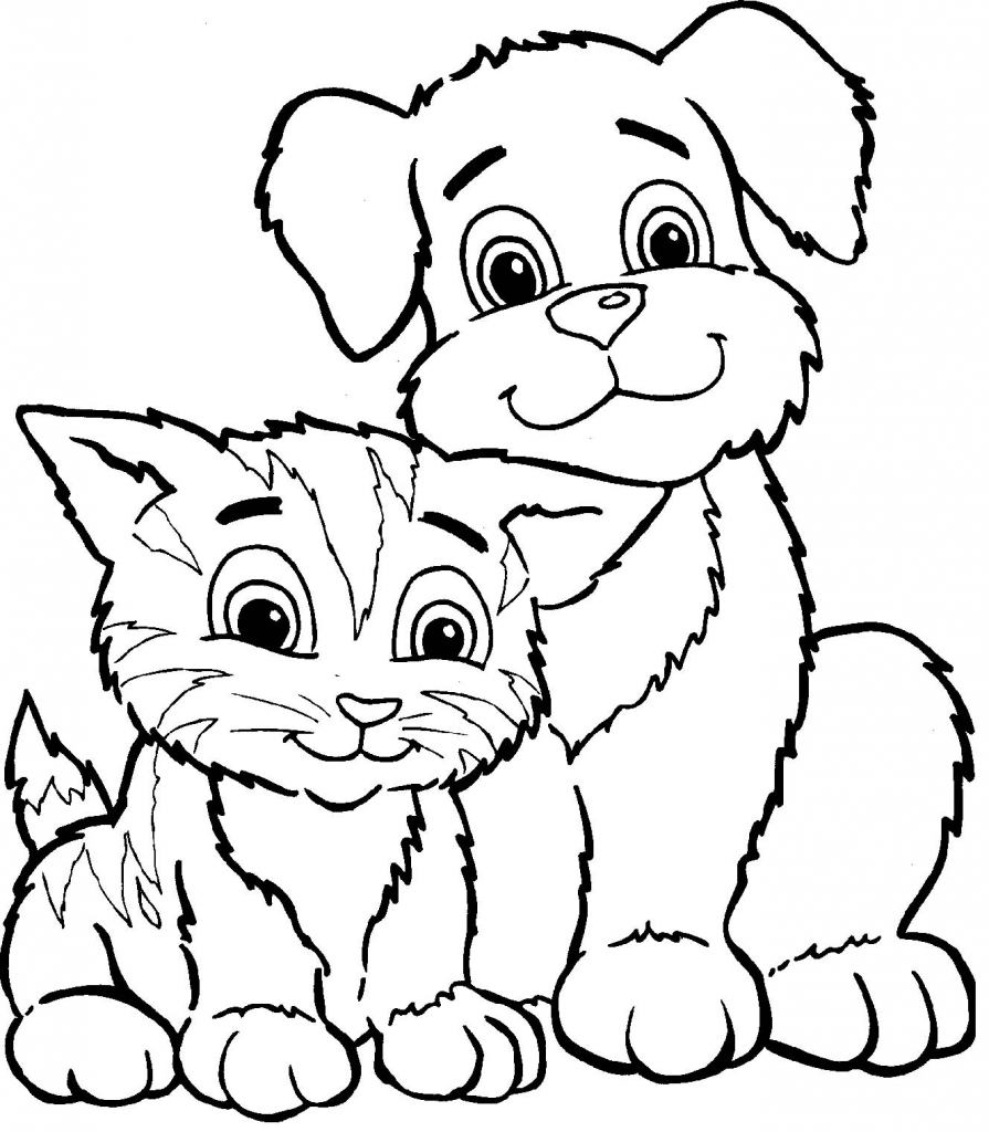 895x1024 Drawings Of Cats And Dogs Dogs And Cats Coloring Pages Pets For U