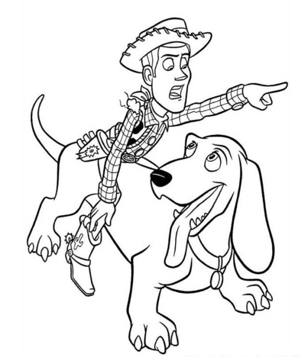600x694 Woody Riding Dog Toy Story 2 Coloring Page To Funny Draw Photo