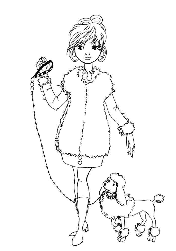 700x1000 How To Draw A Fancy Lady And A Poodle 15 Steps (With Pictures)