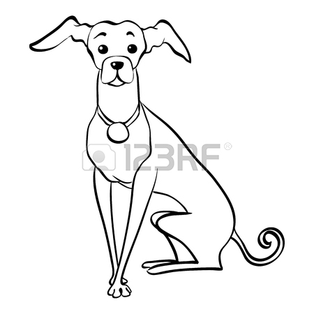 450x450 Sketch Funny Dog Maltese Breed Sitting Hand Drawing Vector Royalty