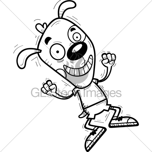 500x500 Cartoon Dog Jumping Gl Stock Images