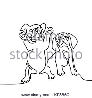 300x320 Continuous Line Drawing. Cute Dog Sitting. Vector Illustration