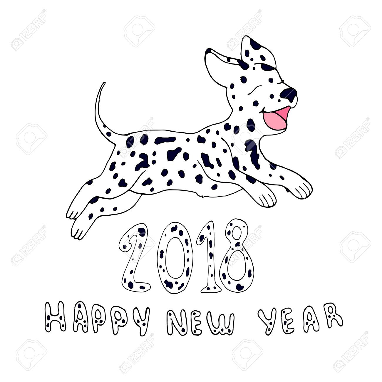 1300x1300 Happy Dog As A Symbol 2018,isolated On White Background.design